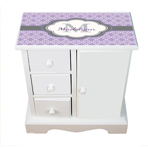 Personalized Jewelry Armoire with Lavender Quatrefoil W Grey design
