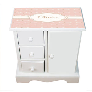 Personalized Jewelry Armoire with Blush Arrows design