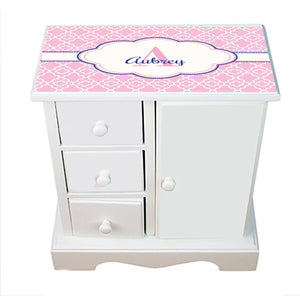 Personalized Jewelry Armoire with Pink Quatrefoil W Navy ll design