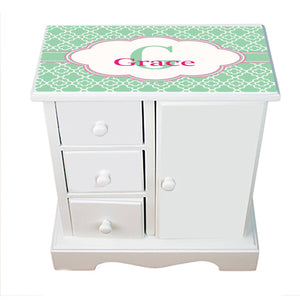 Personalized Jewelry Armoire with Mint Quatrefoil W Pink ll design