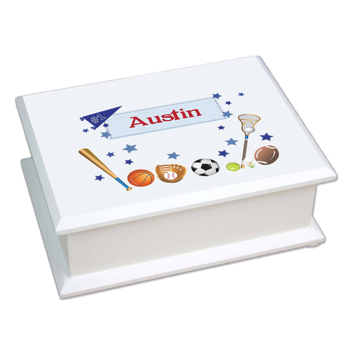 Personalized Lift Top Jewelry Box with Sports design