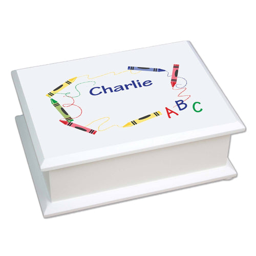 Personalized Lift Top Jewelry Box with Crayon design