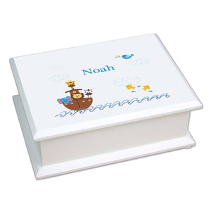 Personalized Lift Top Jewelry Box with Noahs Ark design