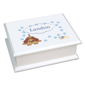Personalized Lift Top Jewelry Box with Blue Puppy design