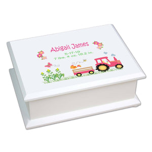 Lift Top Jewelry Box - Pink Tractor