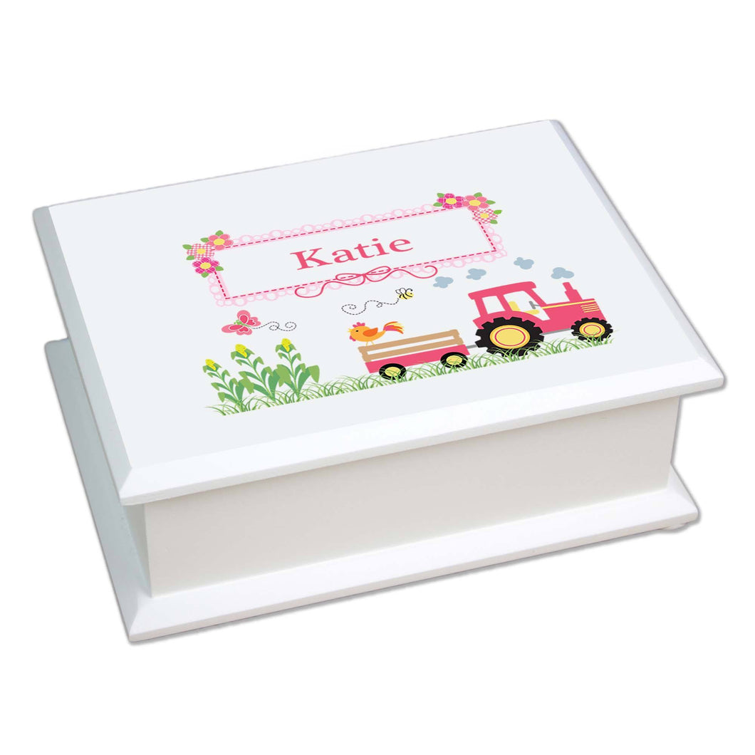 Personalized Lift Top Jewelry Box with Pink Tractor design