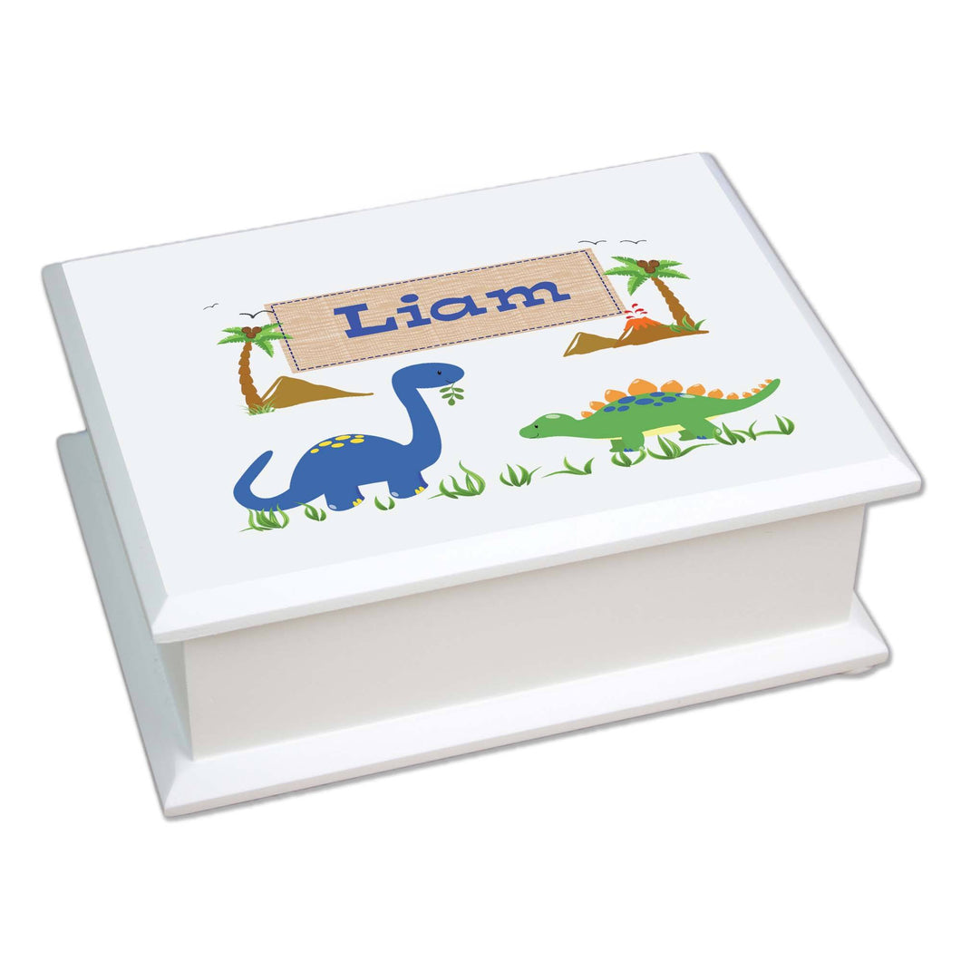 Personalized Lift Top Jewelry Box with Dinosaurs design