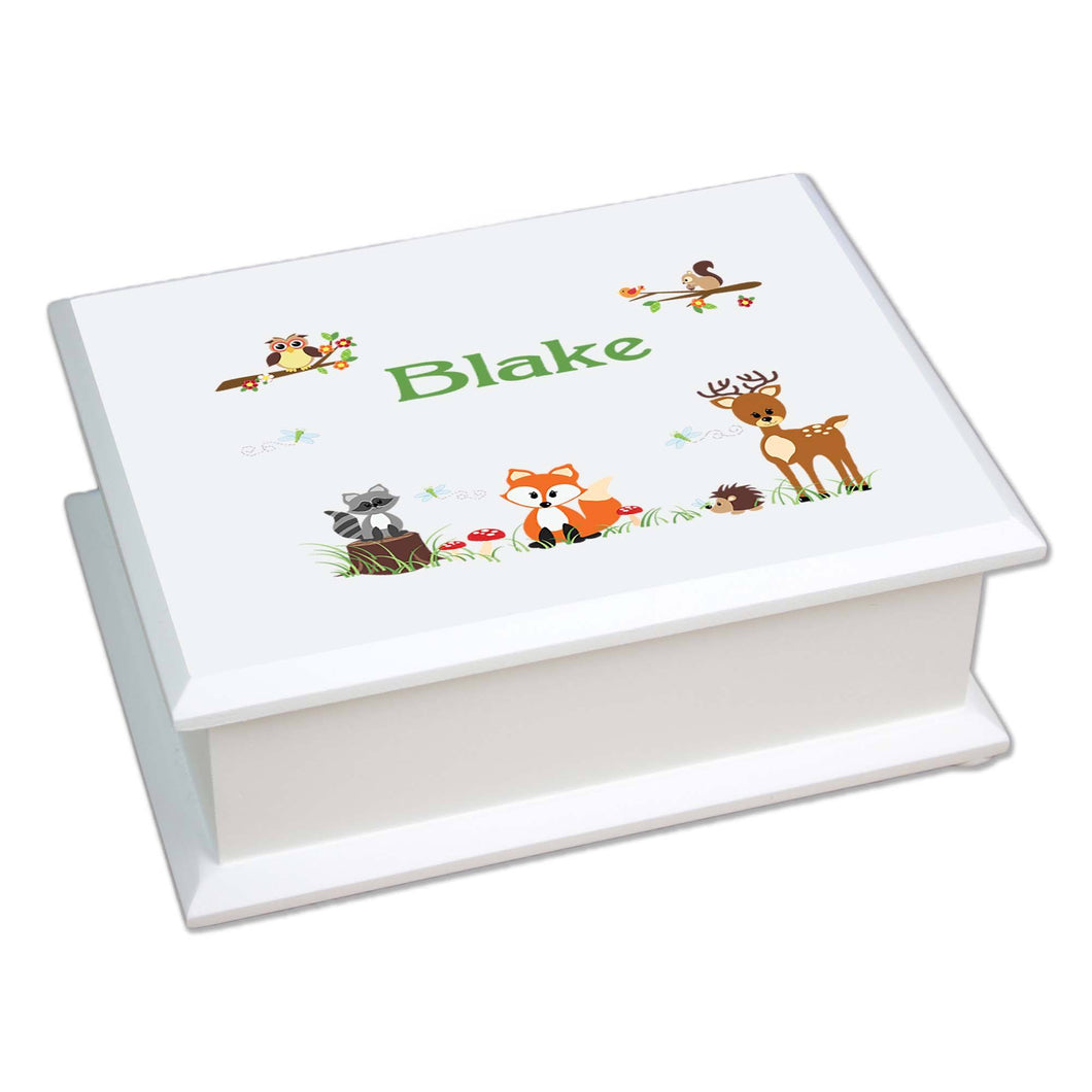 Personalized Lift Top Jewelry Box with Green Forest Animal design