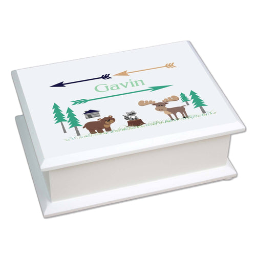 Personalized Lift Top Jewelry Box with North Woodland Critters design