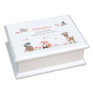 Personalized Lift Top Jewelry Box with Gray Woodland Critters design
