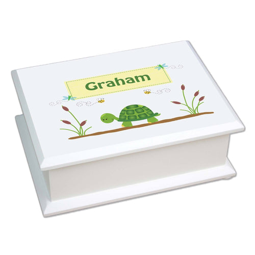 Personalized Lift Top Jewelry Box with Turtle design