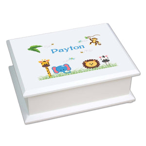 Personalized Lift Top Jewelry Box with Jungle Animals Boy design