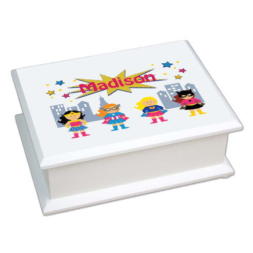 Personalized Lift Top Jewelry Box with Super Girls design