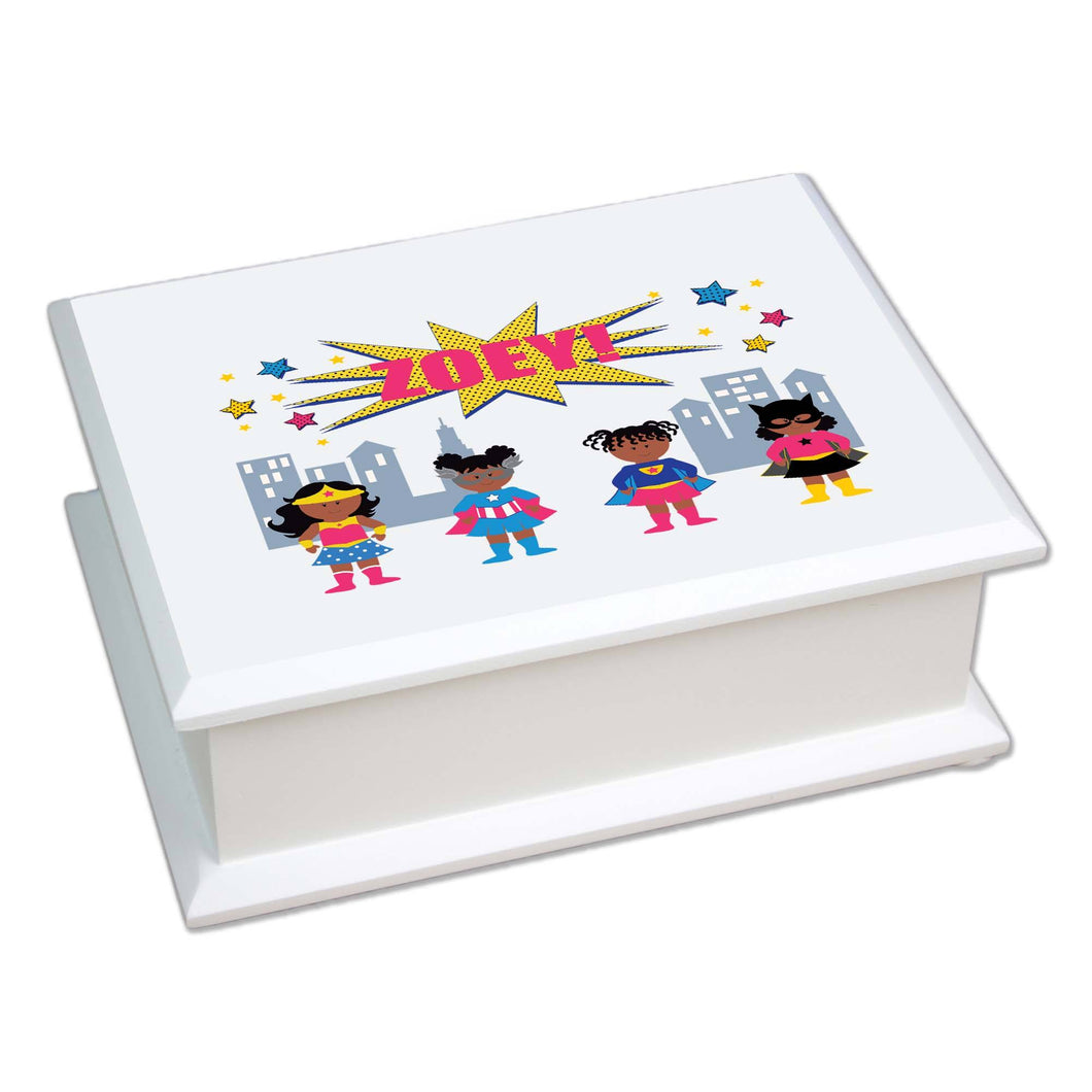 Personalized Lift Top Jewelry Box with Super Girls African American design