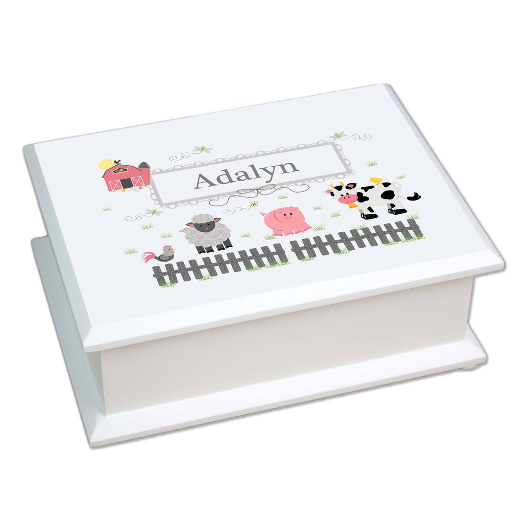 Personalized Lift Top Jewelry Box with Barnyard Friends Pastel design