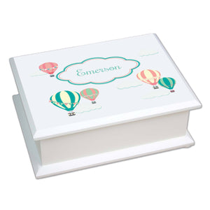 Personalized Lift Top Jewelry Box with Hot Air Balloon design