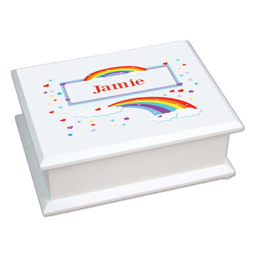Personalized Lift Top Jewelry Box with Rainbow design