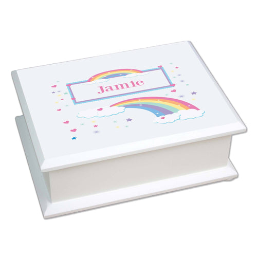 Personalized Lift Top Jewelry Box with Rainbow Pastel design