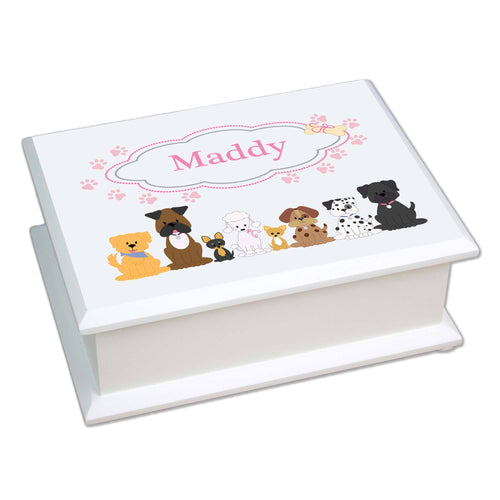Personalized Lift Top Jewelry Box with Pink Dog design