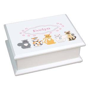 Personalized Lift Top Jewelry Box with Pink Cats design