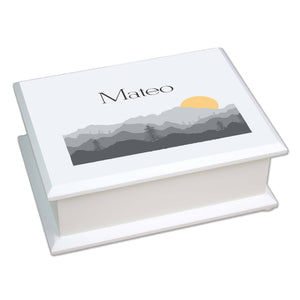 Personalized Lift Top Jewelry Box with Misty Mountain design