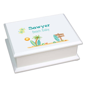 Personalized Lift Top Jewelry Box with Surf'S Up design