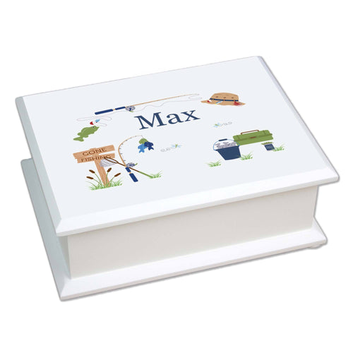 Personalized Lift Top Jewelry Box with Gone Fishing design