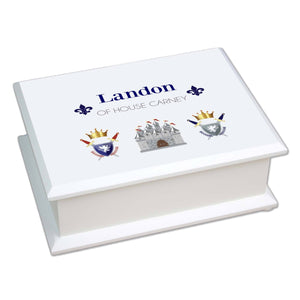 Personalized Lift Top Jewelry Box with Medieval Castle design