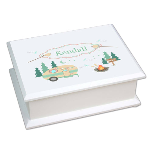 Personalized Lift Top Jewelry Box with Camp Smores design