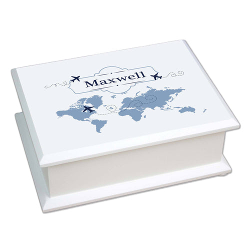 Personalized Lift Top Jewelry Box with World Map Blue design