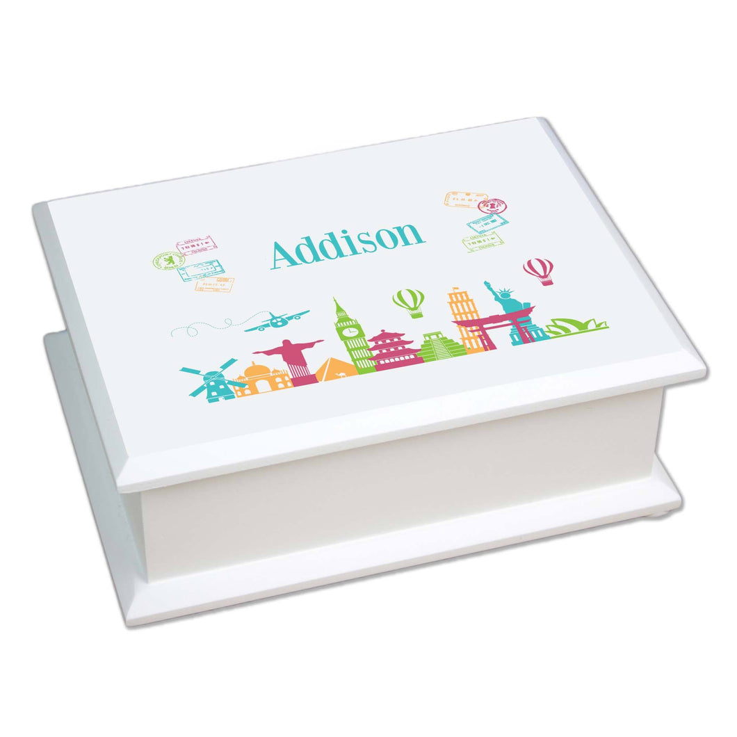 Personalized Lift Top Jewelry Box with World Travel design
