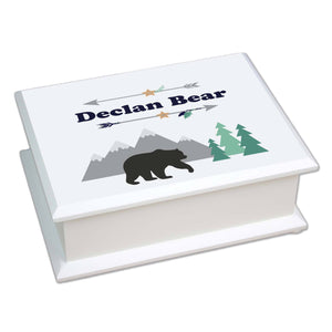 Personalized Lift Top Jewelry Box with Mountain Bear design