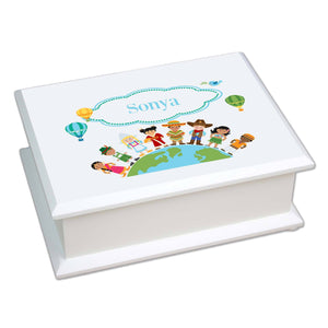 Personalized Lift Top Jewelry Box with Small World design