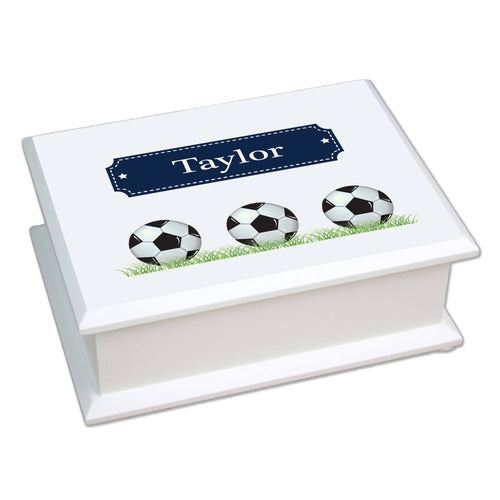 Personalized Lift Top Jewelry Box with Soccer Balls design