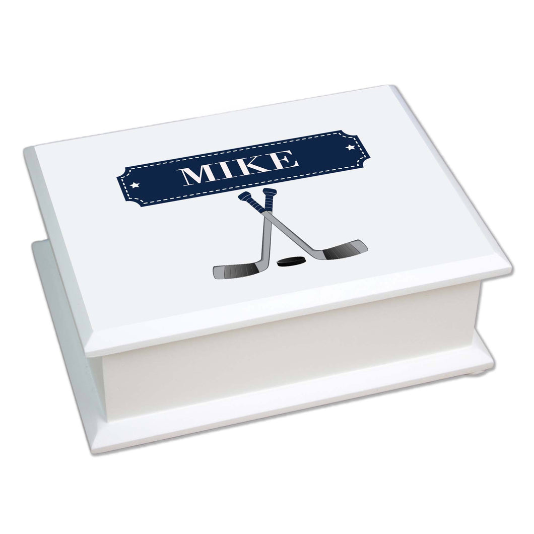 Personalized Lift Top Jewelry Box with Ice Hockey design