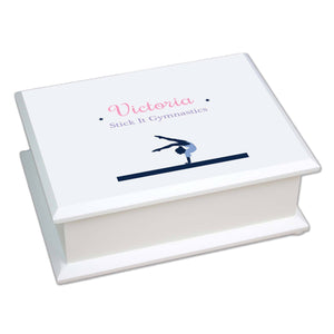 Personalized Lift Top Jewelry Box with Gymnastics design