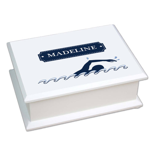 Personalized Lift Top Jewelry Box with Swim design