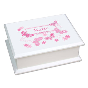 Personalized Lift Top Jewelry Box with Butterflies Pink design
