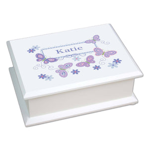 Personalized Lift Top Jewelry Box with Butterflies Lavender design