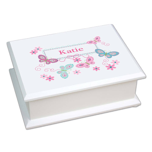Personalized Lift Top Jewelry Box with Butterflies Aqua Pink design