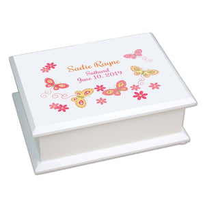Lift Top Jewelry Box - Pink Yellow Butterflies