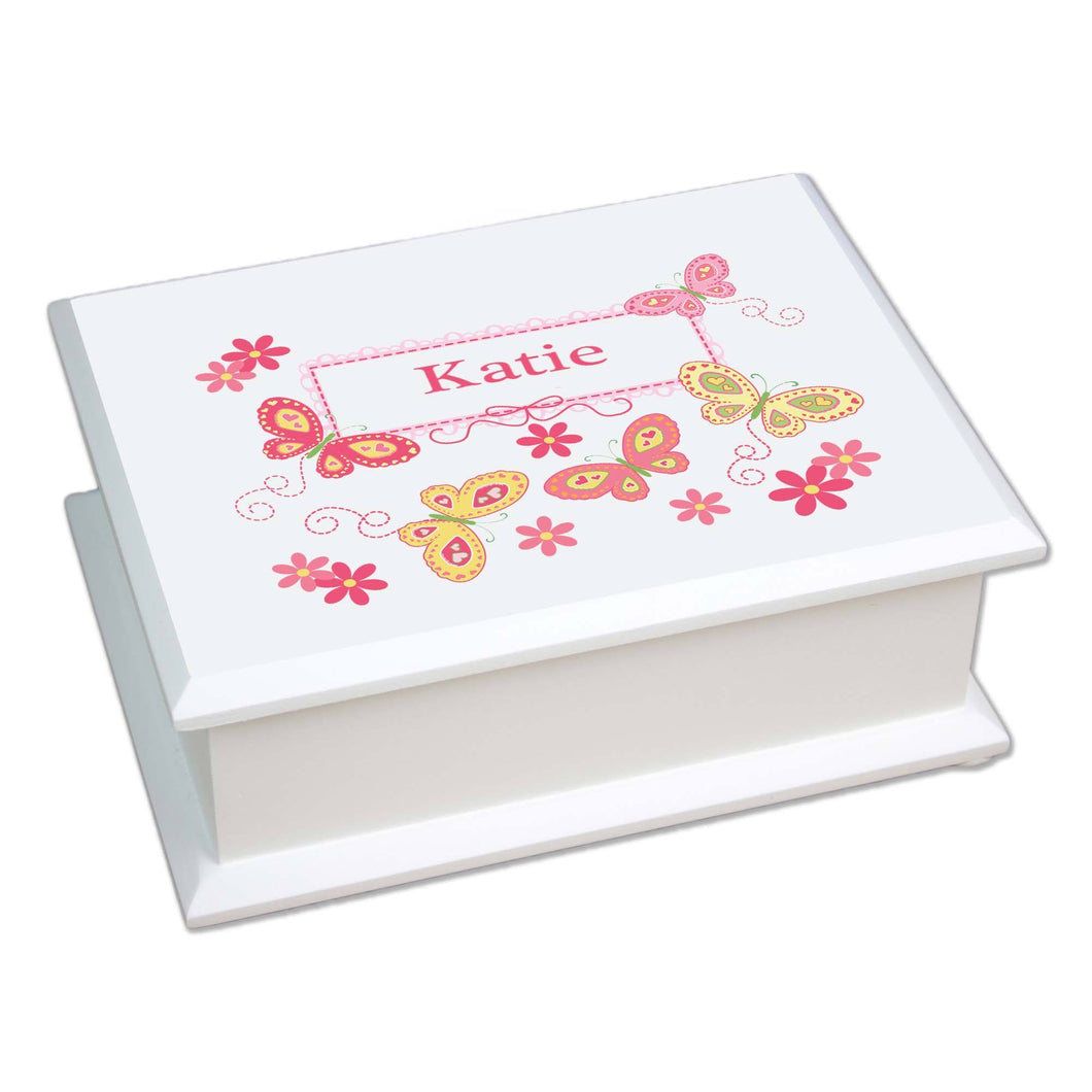 Personalized Lift Top Jewelry Box with Butterflies Yellow Pink design