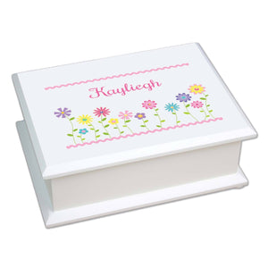 Personalized Lift Top Jewelry Box with Stemmed Flowers design