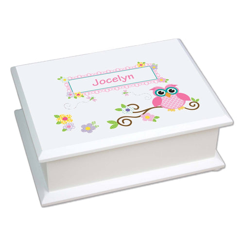 Personalized Lift Top Jewelry Box with Pink Owl design