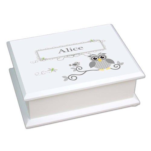 Personalized Lift Top Jewelry Box with Gray Owl design