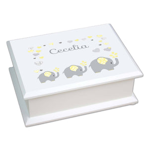 Personalized Lift Top Jewelry Box with Yellow Elephants design