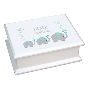 Personalized Lift Top Jewelry Box with Grey and Teal Elephant design