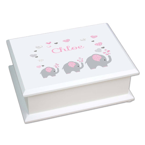 Personalized Lift Top Jewelry Box with Pink Elephant design