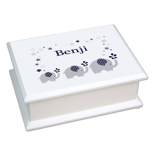 Personalized Lift Top Jewelry Box with Navy Elephant design