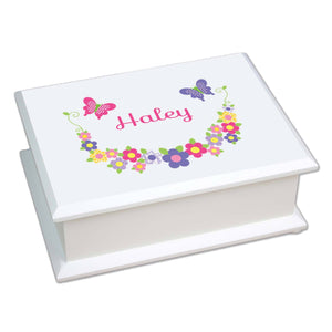 Personalized Lift Top Jewelry Box with Bright Butterflies Garland design